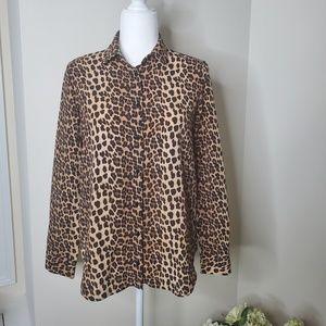 Zara leopard print lace button down size small